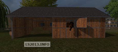 Placeable horse barn with water trigger